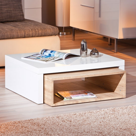 Awesome Trendy White And Oak Coffee Tables With Elko Extendable Storage Coffee Table In White Gloss And Oak (Image 8 of 50)