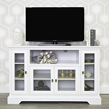 Awesome Trendy White And Wood TV Stands Inside Amazon We Furniture 52 Wood Highboy Style Tall Tv Stand (Image 11 of 50)