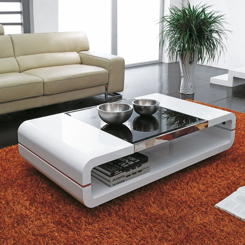 Awesome Trendy White High Gloss Coffee Tables Inside Design Modern High Gloss White Coffee Table With Black Glass Top (View 49 of 50)