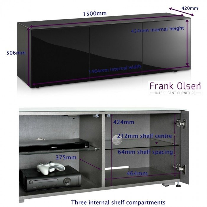 Awesome Unique High Gloss TV Cabinets With Regard To Frank Olsen High Gloss Black 1500mm Tv Cabinet With Wireless Phone (View 29 of 50)