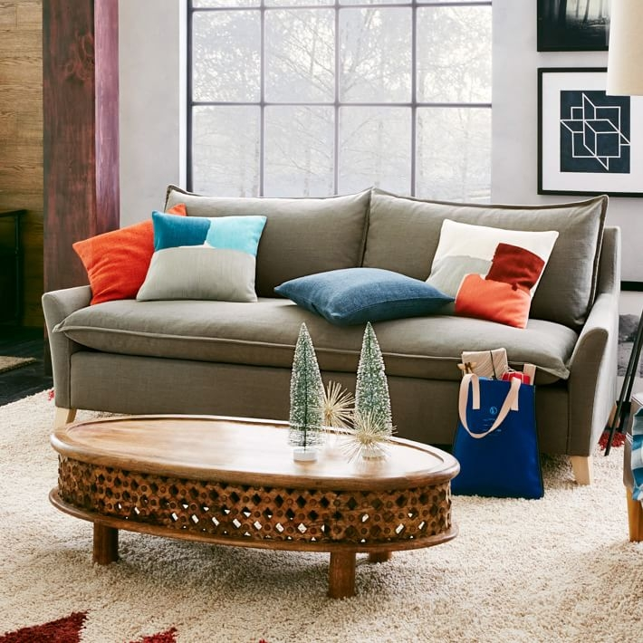 Awesome Unique Mango Wood Coffee Tables With Regard To Carved Wood Ellipse Coffee Table Natural West Elm (Image 7 of 50)