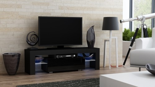 Awesome Unique Milano TV Stands In Tv Stand Milano Black 130 Mat Body High Gloss Fronts Led 4 Colours (Image 10 of 50)