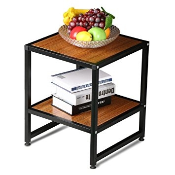 Awesome Unique Square Wood Coffee Tables With Storage With Regard To Amazon Topeakmart 2 Tier Brown Square Wooden Small Coffee (Image 8 of 50)