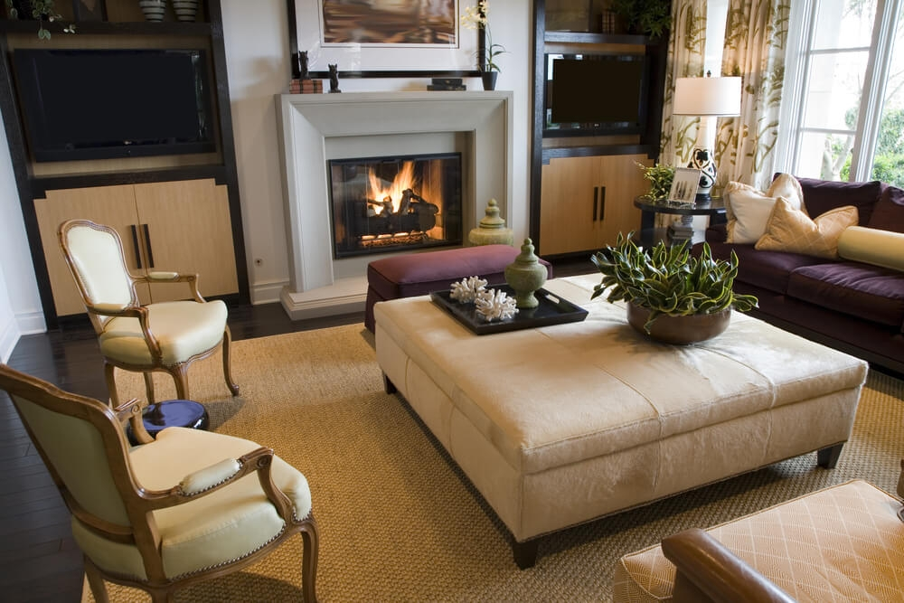 Awesome Variety Of Beige Coffee Tables Throughout 50 Beautiful Living Rooms With Ottoman Coffee Tables (Image 8 of 40)
