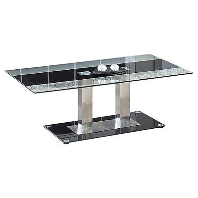 Awesome Variety Of Glass And Chrome Coffee Tables Throughout Modern Chrome Coffee Table End Glass Black Living Room Furniture (Image 8 of 50)