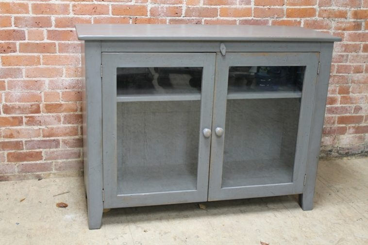 Awesome Variety Of Glass TV Cabinets With Doors Pertaining To Furniture Grey Wooden Tv Cabinet With Swing Glass Door And Two (Image 7 of 50)