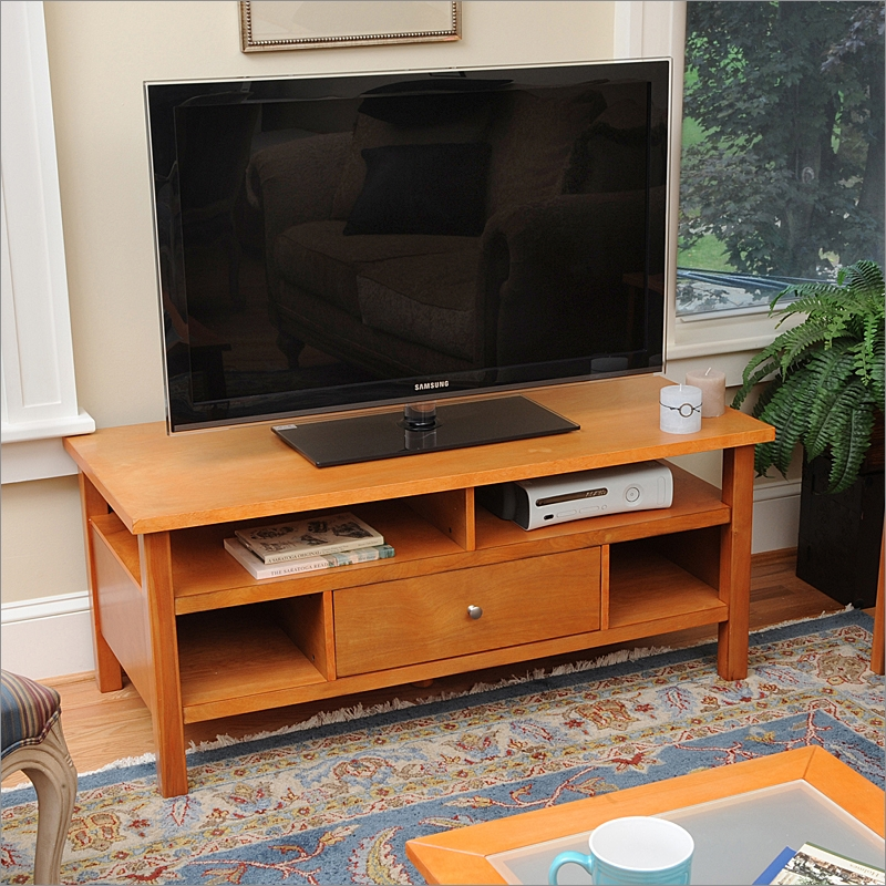 Awesome Variety Of Maple TV Stands Within Honey Maple Flat Screen Or Tube Tv Stand With Drawer Bay Shore (View 8 of 50)