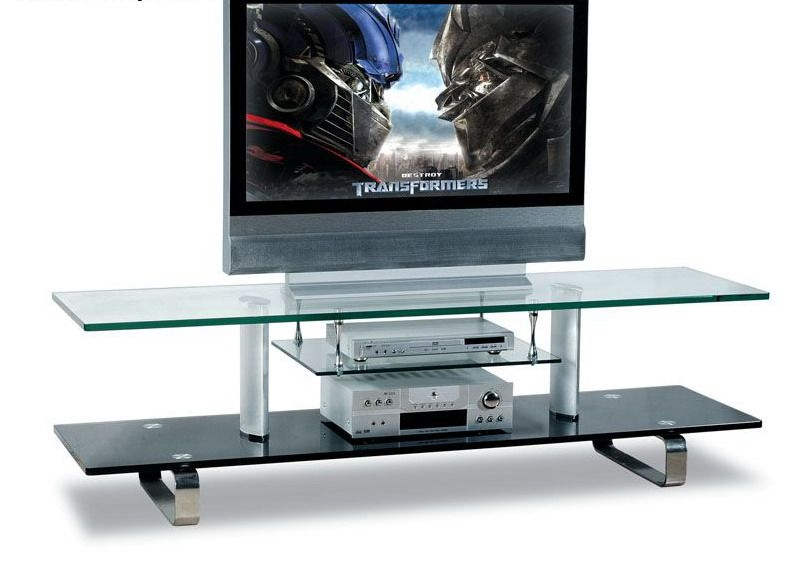 Awesome Variety Of Modern Glass TV Stands Regarding Modern Glass Tv Stand With Chrome Legs  (Image 10 of 50)