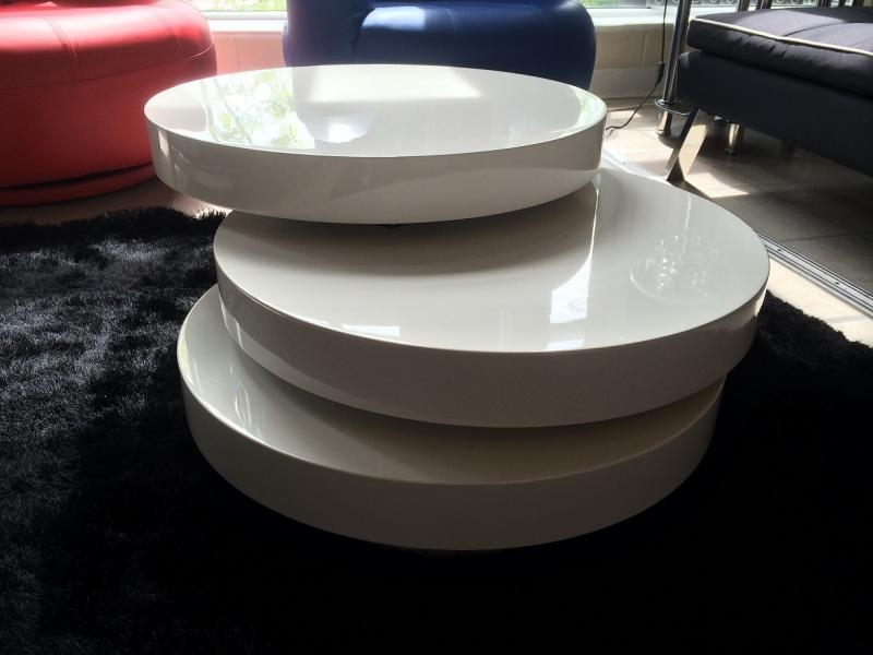 Awesome Variety Of Round High Gloss Coffee Tables Within Modern Round Oak Effect Rotating Coffee Table Mulberry Moon (View 41 of 50)