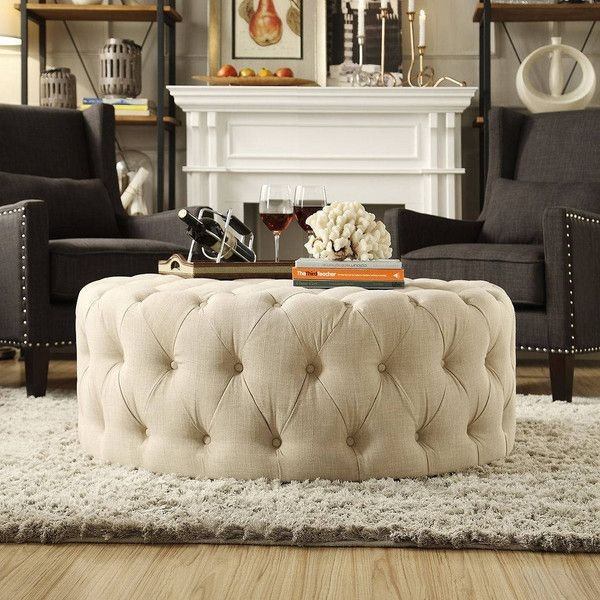 Awesome Variety Of Round Upholstered Coffee Tables For Best 10 Round Tufted Ottoman Ideas On Pinterest Blue Ottoman (Image 6 of 40)