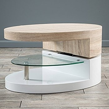 Awesome Variety Of Swivel Coffee Tables Inside Amazon Emerson Large Oval Mod Swivel Coffee Table Kitchen (View 34 of 50)