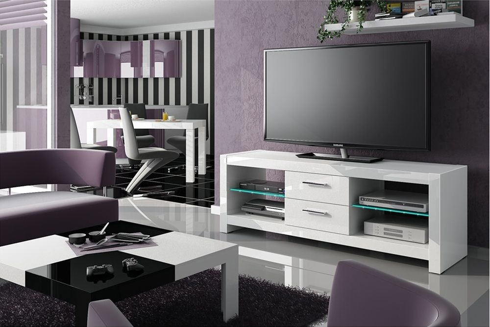 Awesome Variety Of White High Gloss TV Stands Unit Cabinet In Tv Stands Glamorous White High Gloss Tv Stand 2017 Design Black (Image 7 of 50)