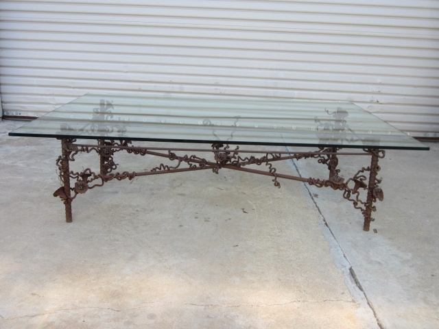 Awesome Well Known Antique Glass Top Coffee Tables Inside Custom Iron Base Glass Top Coffee Table Vintage Furniture (View 15 of 50)
