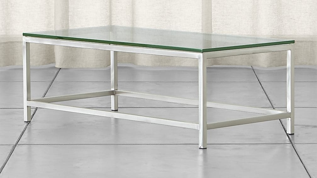 Awesome Well Known Coffee Tables Metal And Glass Pertaining To Era Rectangular Glass Coffee Table Crate And Barrel (Image 6 of 40)
