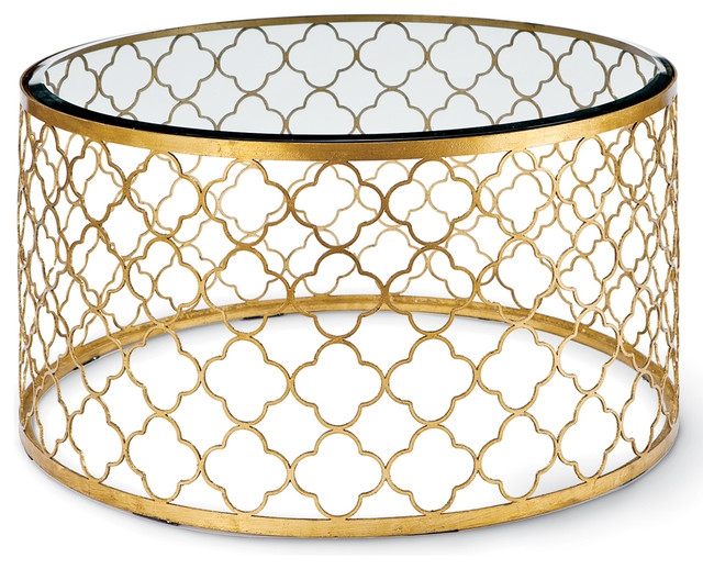 Awesome Well Known Glass Gold Coffee Tables Inside Gold Round Coffee Table (View 48 of 50)