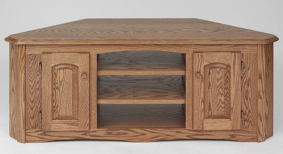 Awesome Well Known Hardwood TV Stands Regarding Solid Wood Oak Country Corner Tv Stand Wcabinet 55 The Oak (Image 9 of 50)