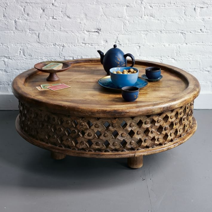 Awesome Well Known Large Low Wooden Coffee Tables Regarding Carved Wood Coffee Table West Elm (Image 4 of 40)
