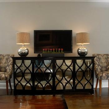 Awesome Well Known Mirrored TV Cabinets Intended For Gray Mirrored Tv Cabinet With Crystal Lamps Transitional (Image 8 of 50)