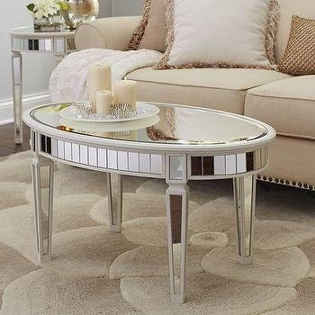 Awesome Well Known Oval Mirrored Coffee Tables Pertaining To Oval Antique Mirrored Panels Coffee Table (Photo 1 of 50)