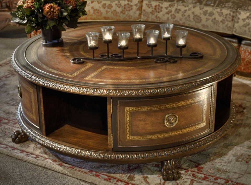 Awesome Wellknown Round Coffee Tables With Storage Intended For Round Coffee Table Accessory Ideas (View 38 of 50)