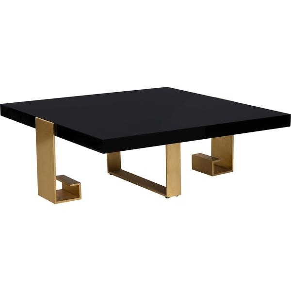 Awesome Well Known Safavieh Coffee Tables Regarding Couture Collection Roya Black Lacquer Gold Leaf Coffee Table (View 31 of 50)