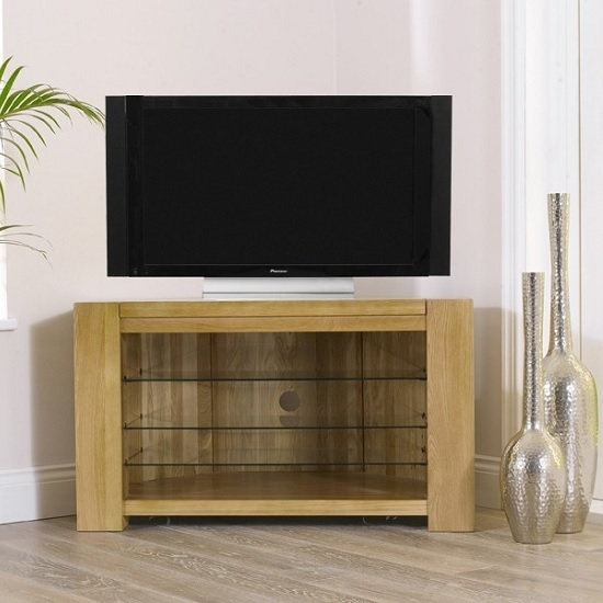 Awesome Wellknown Solid Oak Corner TV Cabinets Throughout Carnell Wooden Corner Tv Stand In Solid Oak With Glass (Image 7 of 50)
