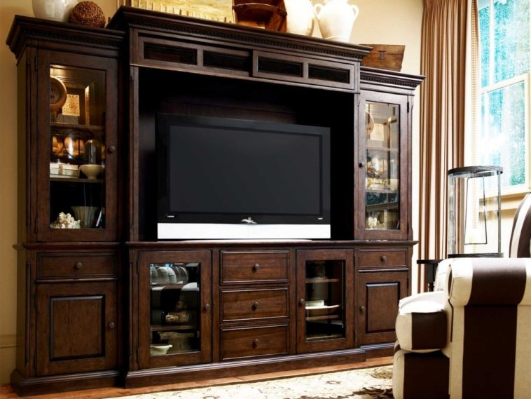 Awesome Well Known TV Cabinets Within Furniture Dark Brown Wooden Tv Cabinets With Wood And Glass Doors (Image 5 of 50)