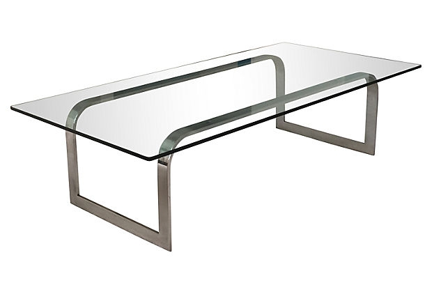 Awesome Wellliked Chrome Glass Coffee Tables Throughout Chrome And Glass Coffee Table Modern Vintage Mix (Image 11 of 50)