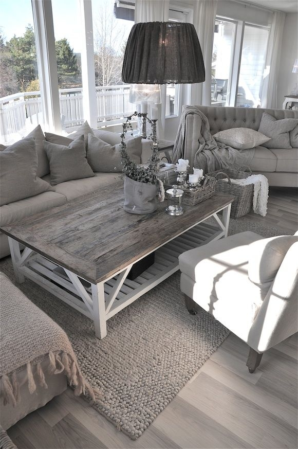 Awesome Wellliked Gray Wood Coffee Tables Regarding Love This Living Room Esp The Coffee Table For The Home (Image 7 of 50)