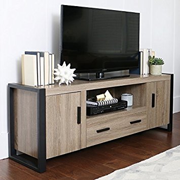 Awesome Wellliked Industrial TV Stands Within Amazon New 60 Modern Industrial Tv Stand Driftwood Finish (Image 10 of 50)