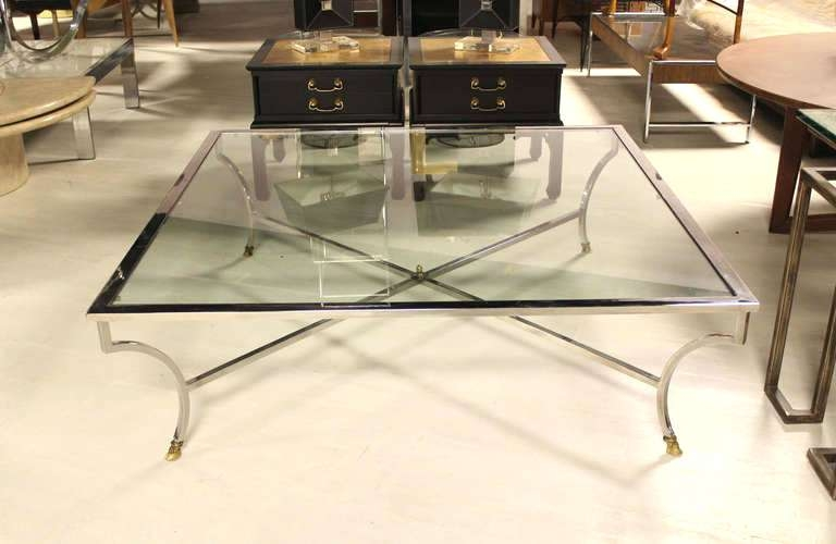 Awesome Wellliked Large Glass Coffee Tables With Regard To Coffee Table Coffee Table Chrome Framed Glass In Extra Large (Image 6 of 50)