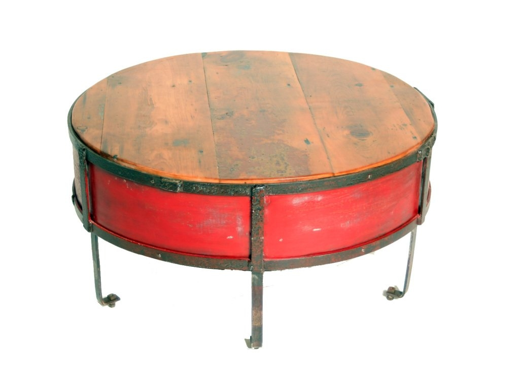 Awesome Wellliked Round Red Coffee Tables Inside Vintage Industrial Round Red Coffee Table At 1stdibs (Image 6 of 50)