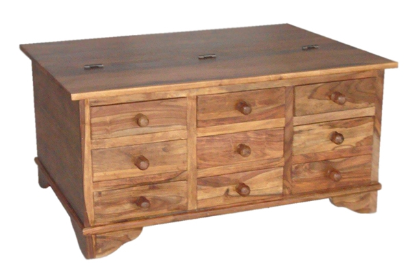 Awesome Wellliked Sheesham Coffee Tables Pertaining To Sheesham Trunk Coffee Table With 12 Drawers (View 41 of 50)