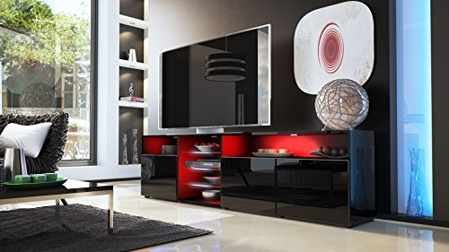 Awesome Wellliked Shiny Black TV Stands With Regard To Tv Unit Stand Granada V2 Carcass In Black High Gloss Front In (Image 8 of 50)