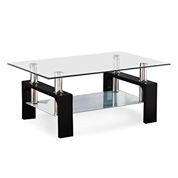 Awesome Widely Used Black Wood And Glass Coffee Tables With Regard To Amazon Virrea Rectangular Glass Coffee Table Shelf Wood (Image 10 of 49)