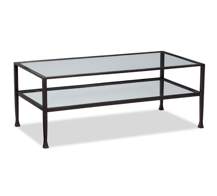 Awesome Widely Used Coffee Tables Glass And Metal Pertaining To Tanner Rectangular Coffee Table Bronze Finish Pottery Barn (Image 13 of 50)