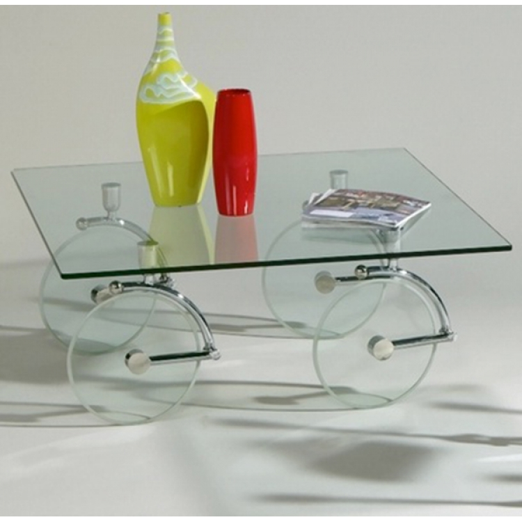 Awesome Widely Used Glass Coffee Tables With Casters In Glass Coffee Table With Chrome Accents (Image 10 of 50)