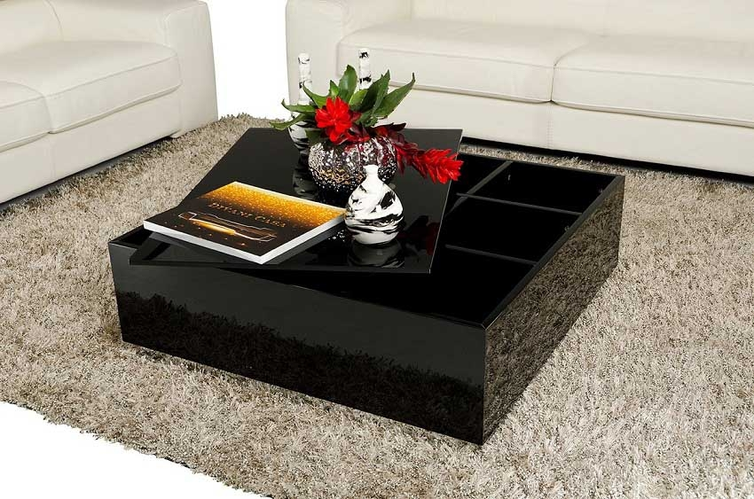 Awesome Widely Used Gloss Coffee Tables With Regard To Elegant Black Gloss Coffee Table (Image 13 of 50)