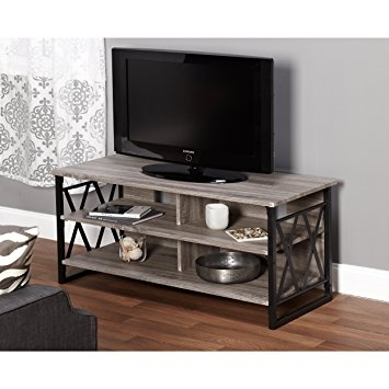 Awesome Widely Used Grey TV Stands Pertaining To Amazon Metro Shop Seneca Xx 48 Inch Black Grey Tv Stand (Image 10 of 50)