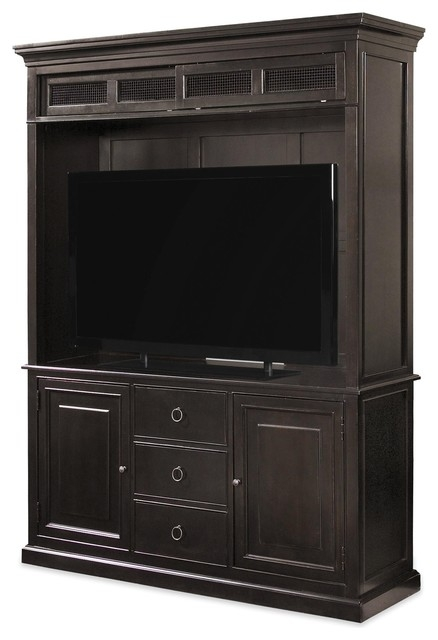 Awesome Widely Used Maple Wood TV Stands Within Country Chic Maple Wood Black Tv Stand With Hutch Traditional (View 10 of 50)