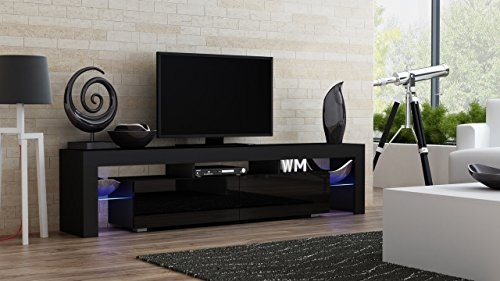 Awesome Widely Used Modern Black TV Stands Pertaining To Amazon Tv Stand Milano 200 Black Body Modern Led Tv Cabinet (Image 8 of 50)