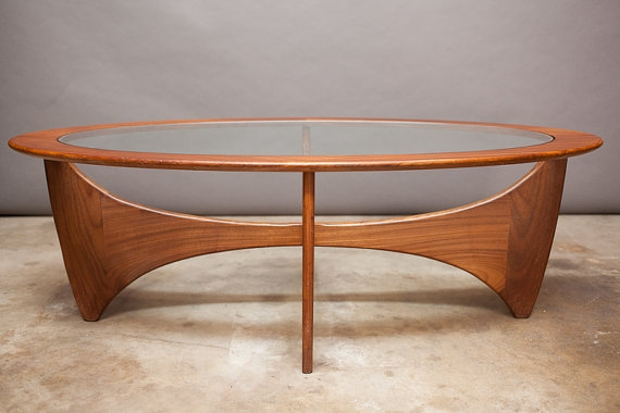 Awesome Widely Used Retro Teak Glass Coffee Tables Pertaining To Danish Modern Mid Century Coffee Table Oval Biomorphic Teak (View 17 of 50)