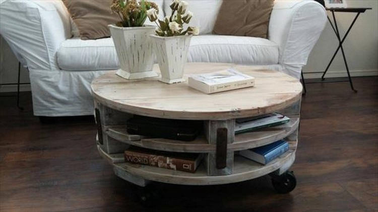 Awesome Widely Used Round Coffee Tables With Storage Intended For Diy Pallet Round Coffee Table Plans Recycled Things (Image 5 of 50)