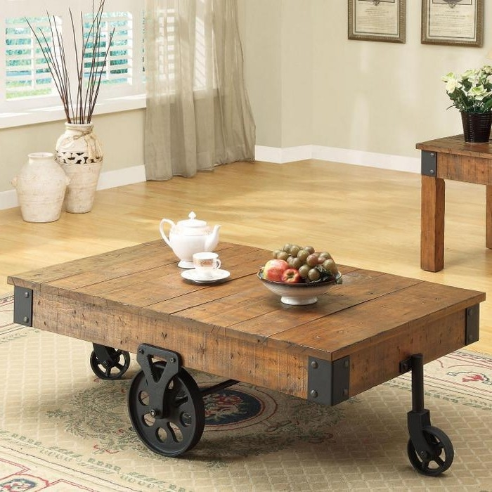 Awesome Widely Used Rustic Coffee Table With Wheels Throughout Lovable Rustic Coffee Table With Wheels Rustic Coffee Table (Image 9 of 50)