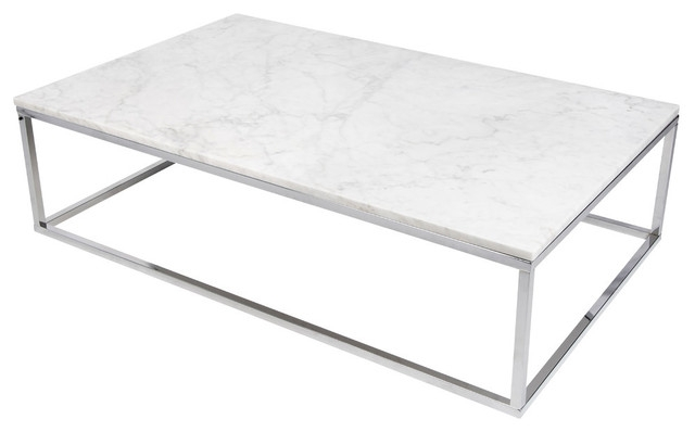 Awesome Widely Used White And Chrome Coffee Tables In Prairie 47×30 Coffee Table With Marble Top Contemporary (Photo 5 of 50)