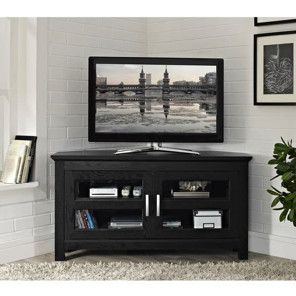 Awesome Widely Used Wooden Corner TV Stands With Black Wood 44 Inch Corner Tv Stand Free Shipping Today (Image 4 of 50)
