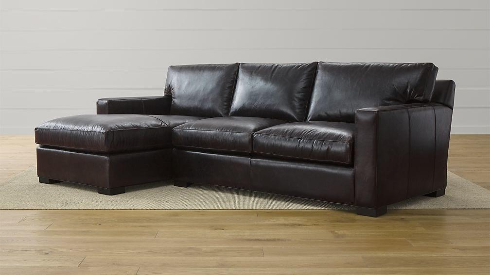 Axis Ii Espresso Leather Sectional | Crate And Barrel With Regard To 2 Piece Sectional Sofas (Image 6 of 20)