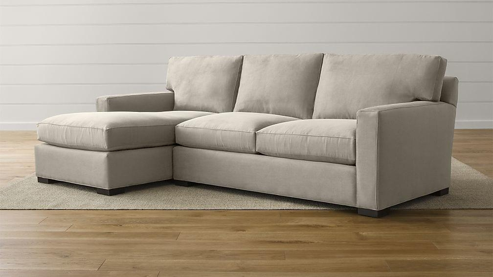 Axis Ii Grey Fabric Sectional Sofa | Crate And Barrel Regarding 2 Piece Sectional Sofas (Image 7 of 20)