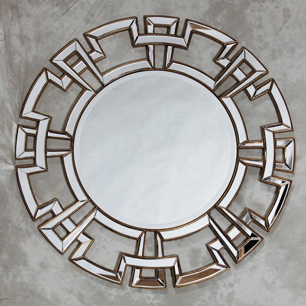 Aztec Design Deep Gold Large Round Wall Mirror 120 X 120 Cm Aztec In Mirrors Venetian (Image 1 of 20)