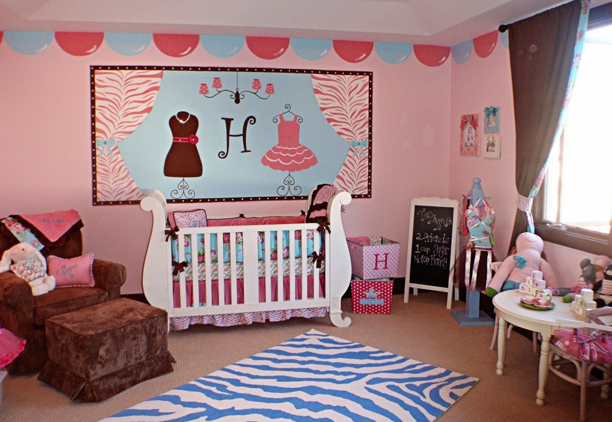 Ba Nursery Outstanding Ba Girl Room With Cream Wall Paint For Crystal Chandeliers For Baby Girl Room (Image 6 of 25)